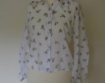 Vintage, retro shirt, 1980s puffy sleeve blouse 8-10