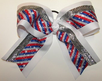 Bulk Price, Big Cheer Bow, Sparkly Patriotic Cheerleader Bow, US Red White Blue Stars Stripes Hair Bow, 7 Inch Dance Team July 4th Hair Bows