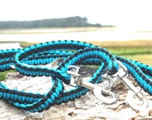 Custom Adjustable Hands Free Paracord Dog Leash, Choose Your Size and Your Colors Wear it Around Your Waist or Across Your Body, 6-Way Leash
