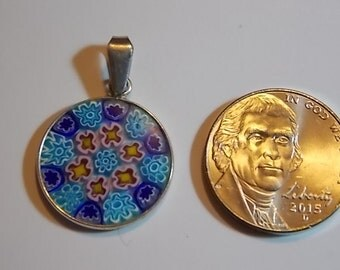 Vintage Sterling Silver And Millefiori Glass Pendant