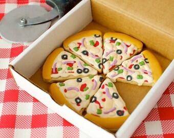 12 Vegan Pizza Slice Shaped Sugar Cookies