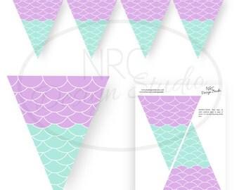 Mermaid Party | Mermaid Party Printable | Mermaid Banner | Mermaid Party Decoration | Under the Sea | Purple | NRCDesignStudio
