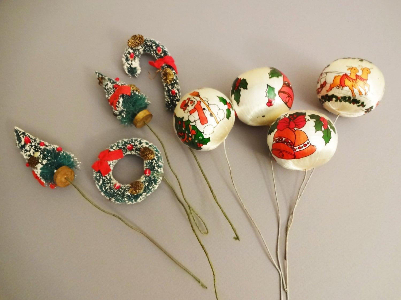 Vintage christmas picks holiday floral picks christmas for Vintage christmas craft supplies