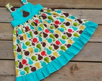 Size 6 Apples And Pears Ruffle Bottom Dress Ready to Ship