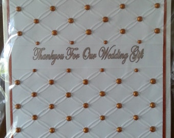 """Handmade 6""""x 6"""" Size  Thank You For Our Wedding Gift Card"""