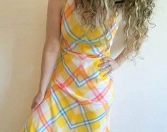 Vintage Designer Manon Bright Pink Blue Yellow Sleeveless Maxi Plaid A Line Dress
