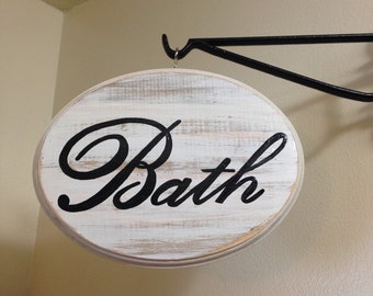 Adorable Bathroom Sign (Large) (White) (7x9)