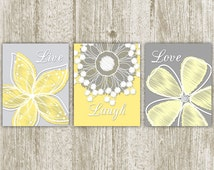 Live Laugh Love Printable, Set of 3, 8x10, Instant Download, Floral Print, Modern Flower Bedroom Print, Bath Art, Yellow Gray Home Decor