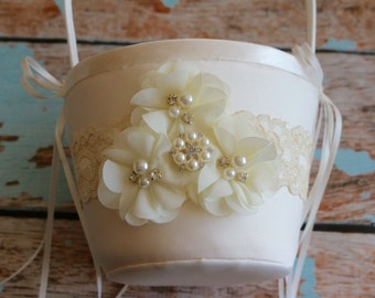 Your Design , Ivory Flower Girl Basket , White Wedding Basket , Blue Basket , Flower Girl Basket