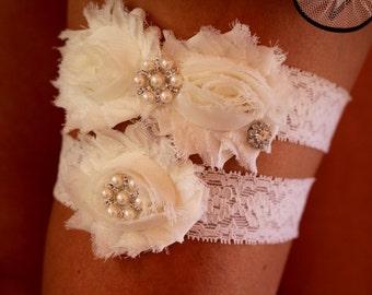 Ivory Garter Set , Rustic Garter , Bridal Garter , Wedding Garter , Vintage Inspired Garter ,Toss garter , Lace Garter