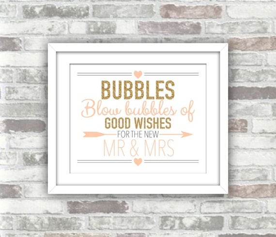 INSTANT DOWNLOAD - Wedding Printable - Blow Bubbles of Good Wishes for the New Mr & Mrs - Gold Glitter Blush Peach-Pink - 8x10 Digital File
