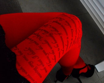 New! Jane Austen Tights , Pride and Prejudice  , Poetry  Tights , Text tights , Poem Pantyhose , Red Tights
