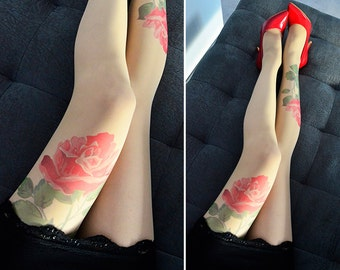 Flower Hand printed Tattoo Tights , Tattoo Tights , Rose Pantyhose, S-XXL Sizes Available