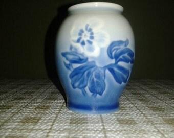 Vintage Blue Floral Mini Bud Vase - B&G Copenhagen Porcelain Made in Denmark