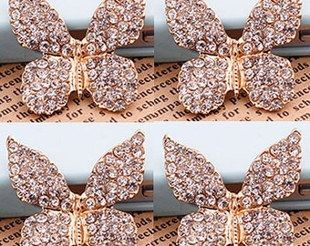 4 Flat Back Rhinestone Butterflies Rhinestone Button Emllishment (27x26 mm) DT-042