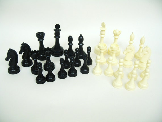 Vintage Plastic Chess Pieces - Set of 32