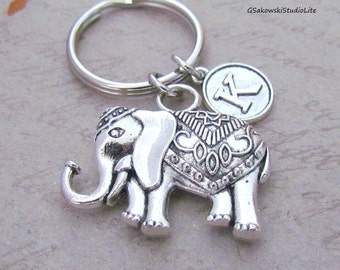 Lucky Elephant Charm Key Ring, Personalized Antique Silver Initial Elephant Key Chain, Choose your Initial Style
