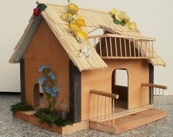 Little fairy / elf cottage with balcony, unique dollhouse miniature