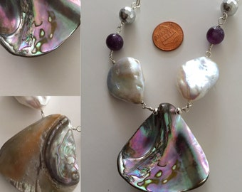 Paua, Pearl and Amethyst Necklace