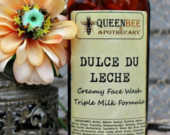 Dulce de Leche Creamy Face Wash - Triple Milk Gentle Cleanser - 8 Ounce Large