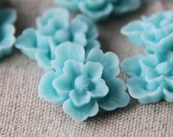 12 pcs of sakura flower cabochon-22mm-rc0166-30-aqua blue