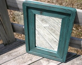 Hand crafted reclaimed wood vanity style mirror. Distressed, rustic, southwest  home decor wall mirror