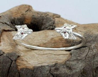 Silver Fox Bangle with Ruby Eyes.