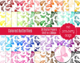 75% OFF Sale - 56 Digital Papers - Butterflies - Instant Download - JPG 12x12 (DP273)