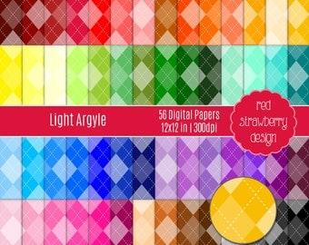 75% OFF Sale - 56 Digital Papers - Light Argyle - Instant Download - JPG 12x12 (DP127)