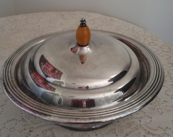 Silver Plate cassarole, Mid Century Modern Sheffield Silver Co. Silver Plate (EPC) Covered Footed Bowl with Yellow Bakelite Finial