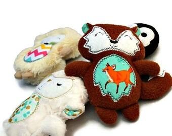 Softie set - Fox pengeuin hedgehog lamb