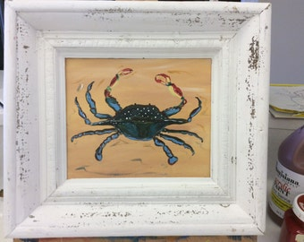 Blue Crab in Weathered Wood Frame