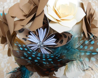 Paper Flower Wedding Bridal Bouquet/ Vintage Circus  Can be made in your colors and patterns