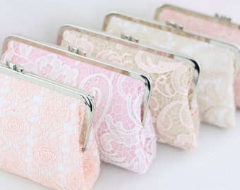 Pink & Champagne Lace Bridesmaids Clutches / Rose Lace Bridal Clutch / Bridesmaids Purse Gifts - Set of 4