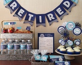 Retirement Party Printable, Navy Blue & Turquoise, Includes Candy Bar Wrapper, Cupcake Toppers, Banner, Tags and More