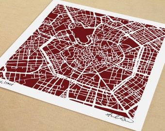 Milan Map, Hand-drawn City Print of Milan Italy