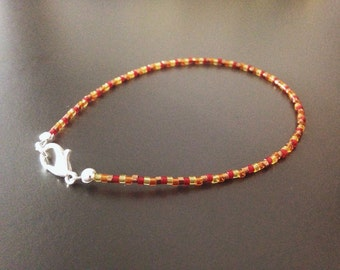 Delica beaded clasp bracelet in 'Autumn'