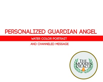 "Personalized Guardian Angel Water Color Portrait.  (8x10"")"
