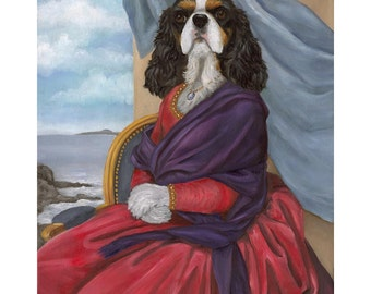 Cavalier Prints, Tara, Tri Color Cavalier King Charles Spaniel Dog Art