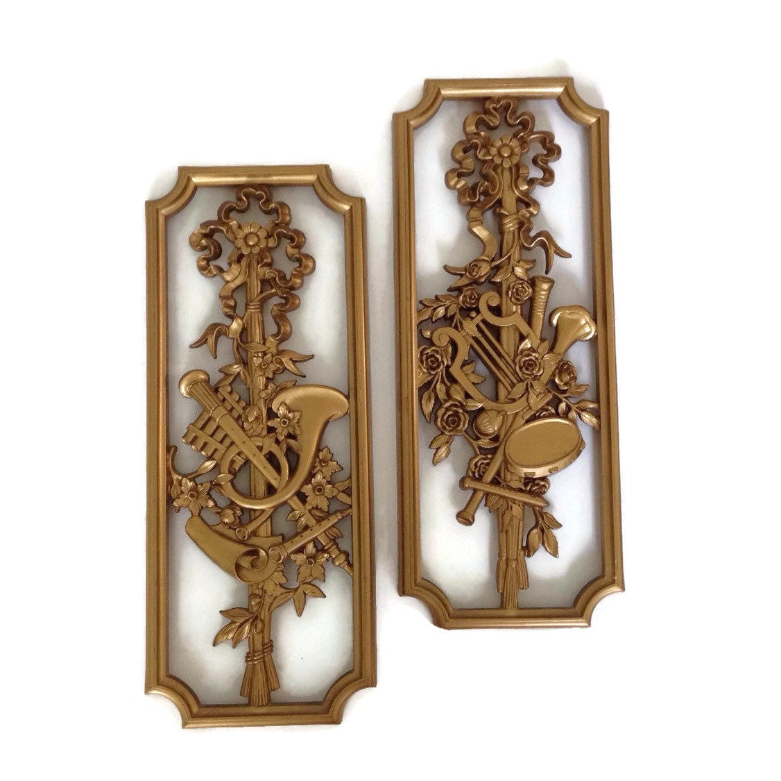 Hollywood regency homco wall decor plaques musical theme pair for Hollywood regency wall decor