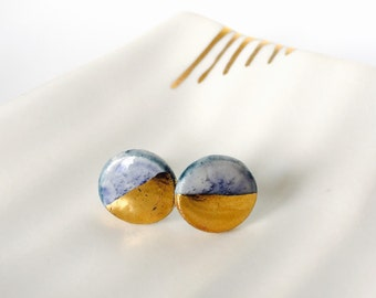 Porcelain earrings, studs, with gold lustre.