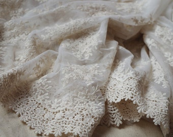 ivory tulle  Lace fabric with retro floral Embroidery, ivory mesh lace fabric  ON SALE