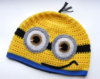 Minion crochet childrens hat, 3-5 years, kids summer hat, crochet sun hat, spring toddlers hat, hat, yellow blue, gift for girl or boy