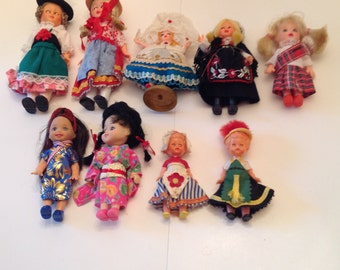 """9   Character Dolls in  Costumes 4"""" to 6"""" Vintage from 1960s or earlier"""