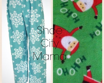 Sale 30% Off Ho-Ho Santa Christmas Pajamas Pants Fleece Matching Sibling Ready to Ship in Size 2 Toddler & Size 3 Toddler Handmade In USA