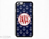 iPhone 6s Plus Case, iPhone 6s Case, iPhone 5s Case, iPhone 5c Case, Navy and White Anchors, Monogram Gift (101)