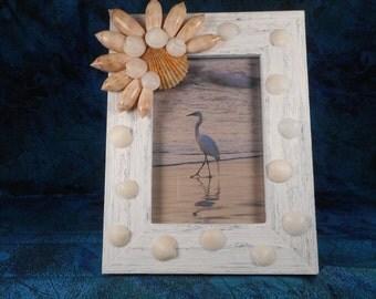 Handmade seashell picture frame