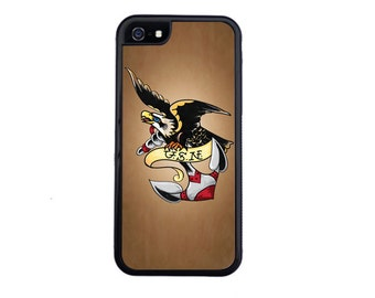 Vintage Naval Eagle & Anchor Tattoo Case Design For iPhone 4/4s, 5/5s, 5c, 6/6s, 6/6s Plus, 7 or 7 Plus.