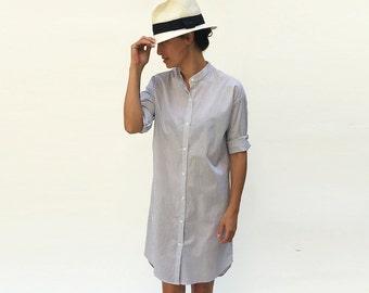 Long Tunic, Shirt Dress, Stripe Dress, White Dress, Boyfriend Shirt, Mini Dress, Cotton Tunic Dress, Loose Kaftan, Long Shirt,
