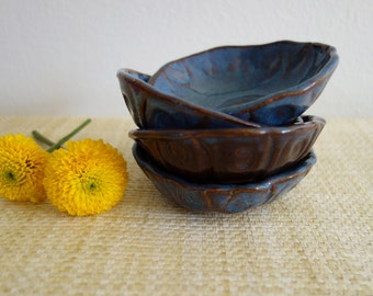 Rustic Blue Salt Cellars or Dipping Dishes - 3 Available